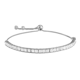 Gioelli Sterling Silver Cubic Zirconia Adjustable Bracelet