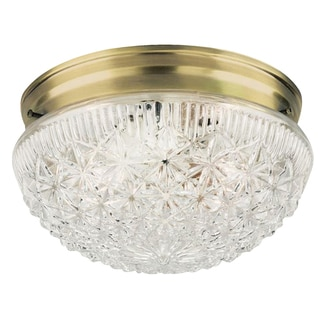 Westinghouse 6661000 Two Light Flush Mount Faceted Glass Ceiling Fixture