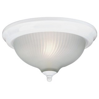 Westinghouse 6430000 White Flush Mount Ceiling Fixture With Frosted Swirl Glass