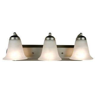 Bel Air Lighting CB-PL3503-BN 3 Light Vanity With White Alabaster Style Glass