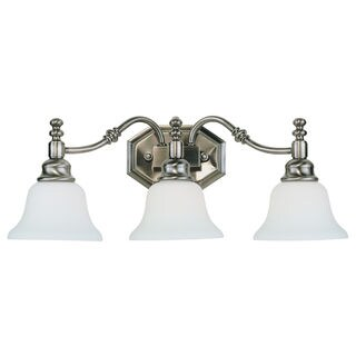 Bel Air Lighting CB-34153-AN 3 Light Antique Nickel Vanity With White Frosted Glass