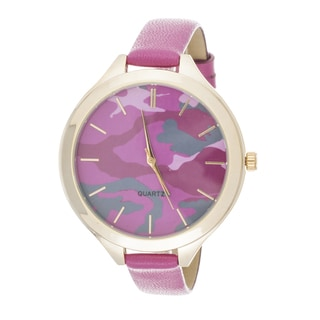 Fortune NYC Slim Women's Gold Case Camo Dial / Pink Leather Strap Watch