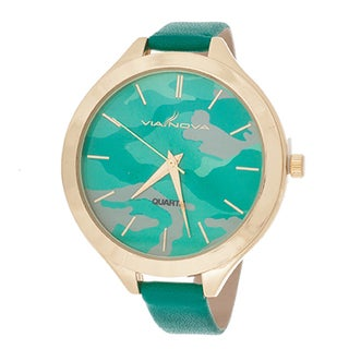 Fortune NYC Slim Women's Gold Case Camo Dial / Green Leather Strap Watch