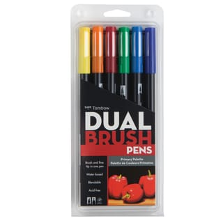 Tombow Dual Brush Pen Art Markers Primary (Pack of 6)