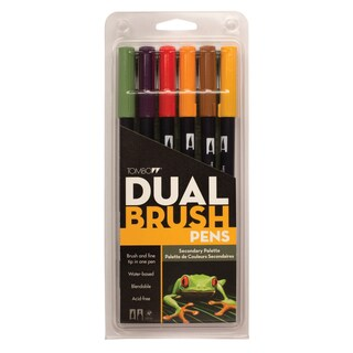 Tombow Dual Brush Pen Art Markers Secondary (Pack of 6)