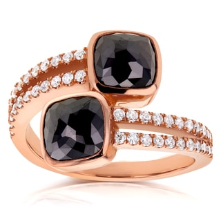 Annello by Kobelli Two Collection 18k Rose Gold 2 7/8ct TDW Black and White Diamond Wrap Over Ring