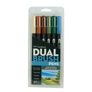Tombow Dual Brush Pen Art Markers Landscape (Pack of 6)