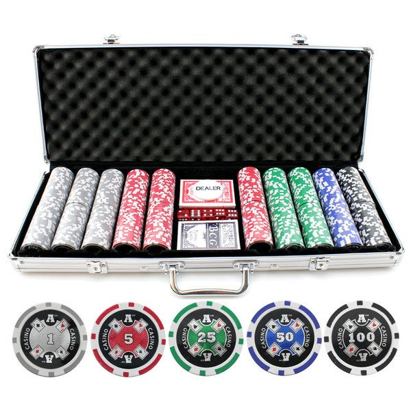 13.5g 500-piece Aces Up Clay Poker Chips with Laser Effects