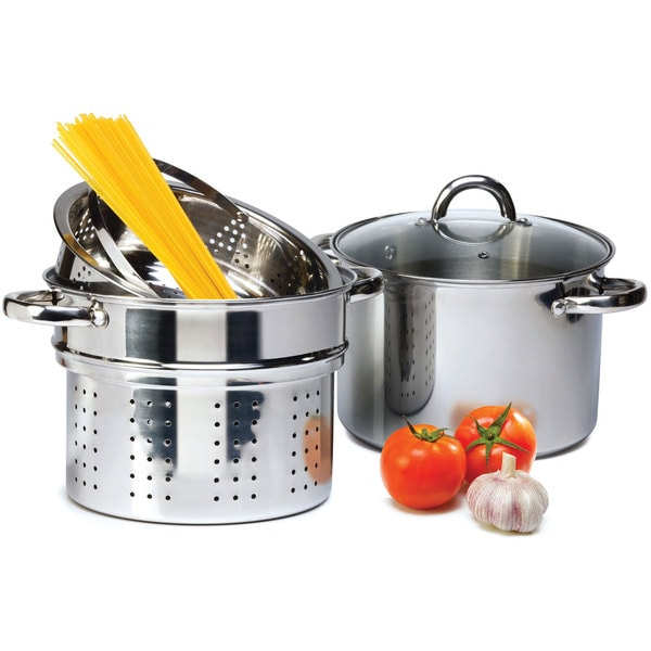 Stainless Steel Pasta Cooker Set With 8 Quart Stock Pot Steamer Inserts 4 Pieces