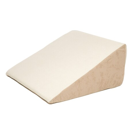 Memory Foam Bed Wedge with Beige Sherpa Cover