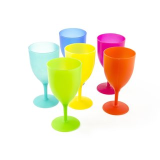 6-piece Reusable Plastic Picnic Goblets Set in Assorted Colors