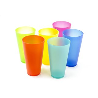 Imperial Home Multi Plastic Colorful Reusable Party Cups (Set of 6)