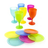 Reusable Colorful Plastic Picnic Set with Plates and Goblets (6 Piece)