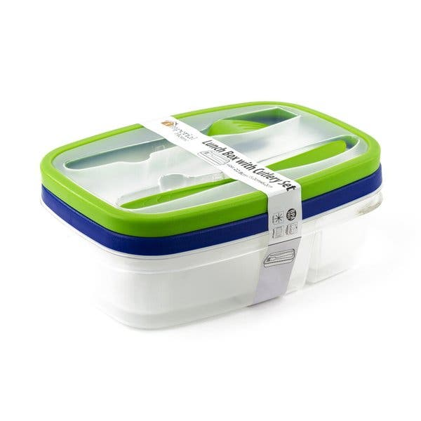 Pack Of 2 Plastic Bento Lunch Box