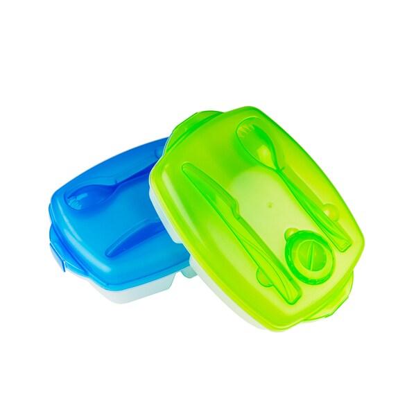 pack of 2 plastic bento lunch box set food storage. Black Bedroom Furniture Sets. Home Design Ideas