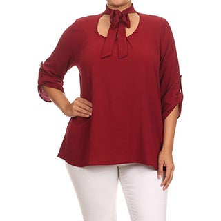 MOA Collection Plus Women's Top with Neck Tie (Option: Tan)