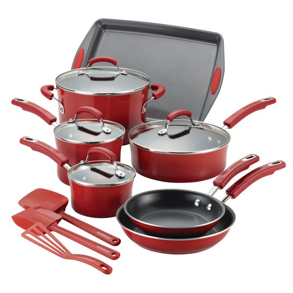 Rachael Ray 14-Piece Hard Porcelain Enamel Nonstick Cookware Set. Opens flyout.