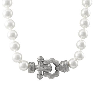 Luxiro Rhodium Finish Faux Pearls Pave Crystals Statement Necklace - Silver