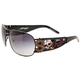 Ed Hardy EHS-043 Winner Take All Black Sunglasses