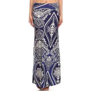 MOA Collection Women's Ornate Floral Maxi Skirt