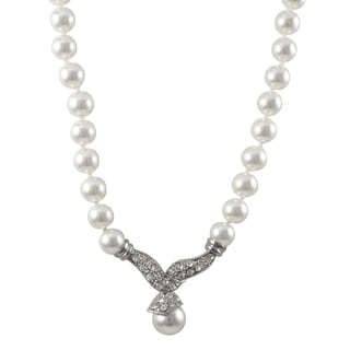 Luxiro Rhodium Finish Faux Pearls Pave Crystals Statement Necklace