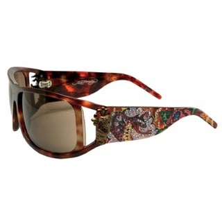 Ed Hardy EHS-046 Snakes and Roses Tortoise Aviator Sunglasses