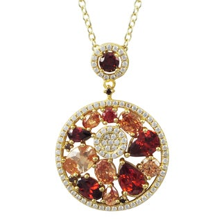Luxiro Gold Finish Sterling Silver Red and Champagne Cubic Zirconia Pendant Necklace