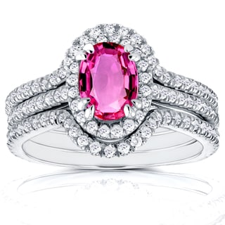 Annello by Kobelli 14k White Gold Oval Pink Sapphire and 3/4ct TDW Halo Diamond Bridal Rings 3 Piece