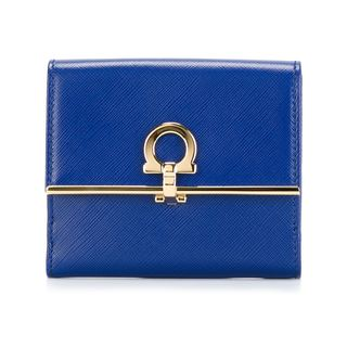 Salvatore Ferragamo French Icona Blue Leather Wallet