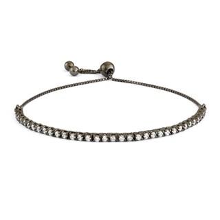 Gioelli Black over Silver Cubic Zirconia Adjustable Bracelet