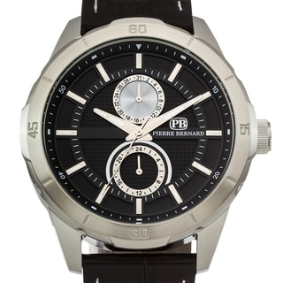 Pierre Bernard Monolith Men's Miyota SP23 movement with Date and 24 Hour Time Genuine Leather Multi Function Watch