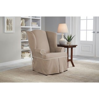 Tailor Fit Relaxed Fit Twill Wingback Chair Slipcover in Taupe with Natural (As Is Item)