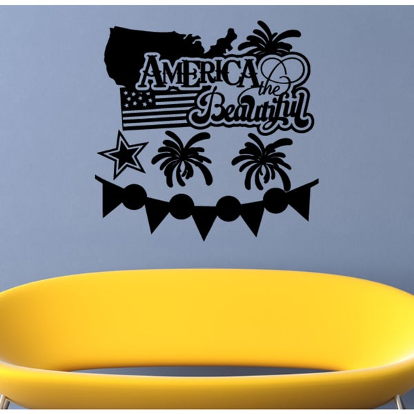 American Flag America the Beautiful Wall Art Sticker Decal
