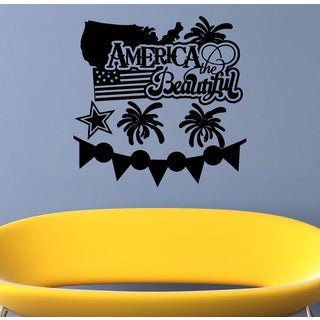 American Flag America the Beautiful Wall Art Sticker Decal