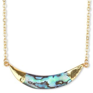 Mint Jules 24k Goldplated Natural Abalone Horn Necklace