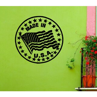 American Flag Made in the USA Wall Art Sticker Decal