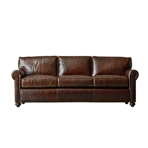 Bushwick 120 Inch Extra Deep Black Or Brown Leather Made To Order Sofa