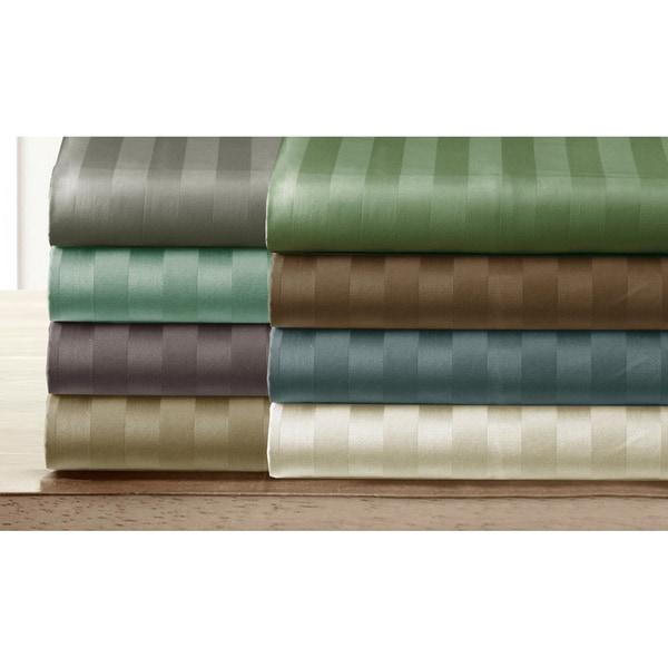 Luxury Pima Cotton 300 Thread Damask Stripe  Count Sheet Set