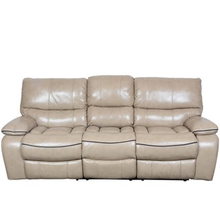 Porter Alameda Cream Vegan Leatherlike Dual Reclining Sofa with Contrast Welt and Fold Down Console
