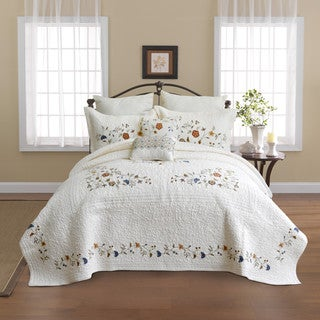 Nostalgia Home Alice Floral Cotton Embroidered Quilted Bedspread