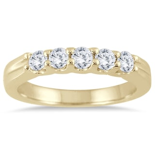 Marquee Jewels 14k Yellow Gold 1/2ct TDW Diamond 5 Stone Band
