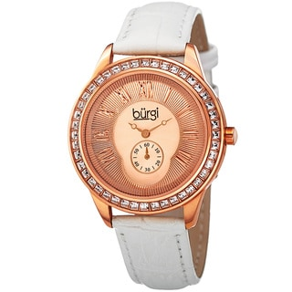Burgi Women's Quartz Austrian Crystal Leather Strap Watch