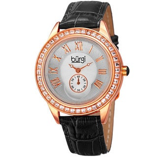 Burgi Women's Quartz Austrian Crystal Leather Strap Watch