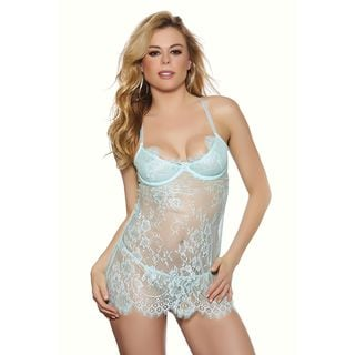 Mint Lace Babydoll with Matching Panty by Popsi Lingerie