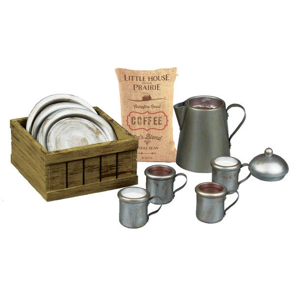 The Queen's Treasures Officially Licensed Little House on the Prairie Dishware Set: 4 Dishes, 4 Cups, Coffee Pot, Sack, & Crate