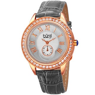 Burgi Women's Crystal Leather Strap Gray and Rosegold tone Watch
