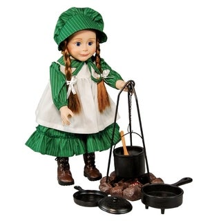 The Queen's Treasures Officially Licensed Little House on the Prairie Cooking Set (Fire Ring, Caldron, Tripod, 2 Pans)
