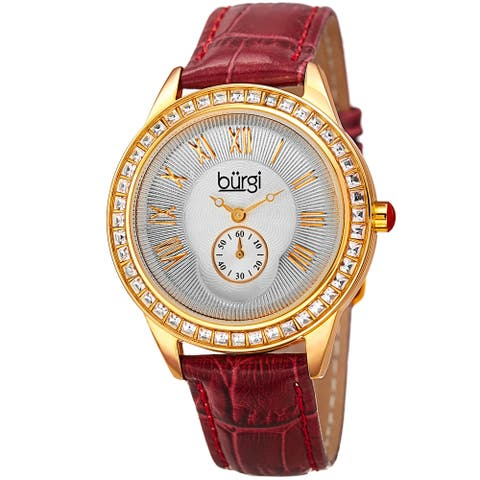 Burgi Women's Quartz Austrian Crystal Leather Strap Watch - Red