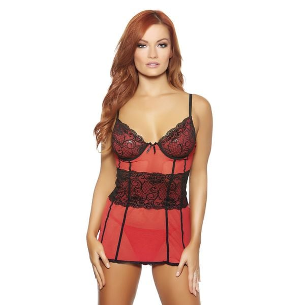 42f883f36 Shop Red Black Babydoll with Matching Panty by Popsi Lingerie - Free ...