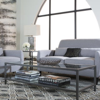 Carbon Loft Heimlich Metal/ Glass Rectangle Coffee Table